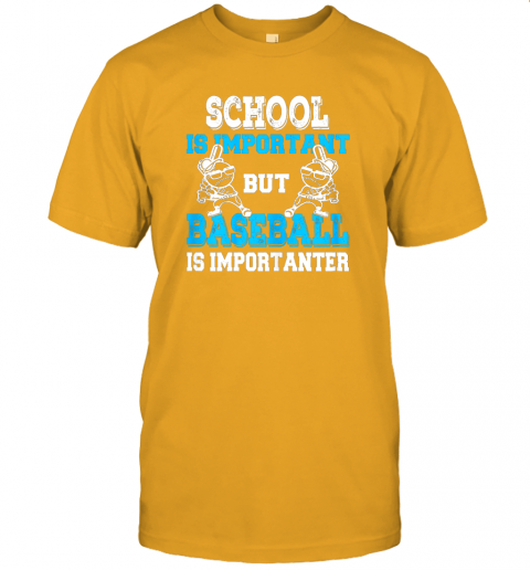 9ksg school is important but baseball is importanter boys jersey t shirt 60 front gold