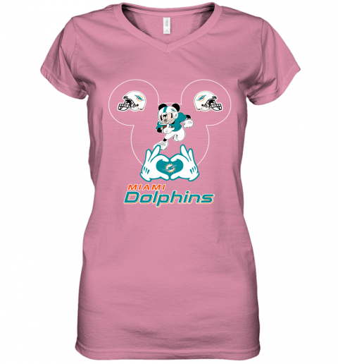nw71 i love the dolphins mickey mouse miami dolphins women v neck t shirt 39 front azalea
