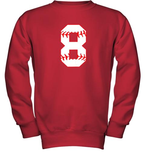 su2u cute eighth birthday party 8th baseball shirt born 2011 youth sweatshirt 47 front red