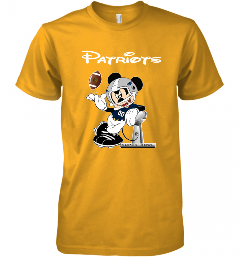 rqro mickey patriots taking the super bowl trophy football premium guys tee 5 front gold