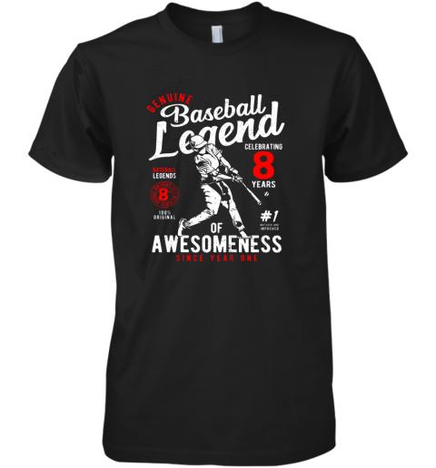Kids 8th Birthday Gift Baseball Legend 8 Years Premium Men's T-Shirt