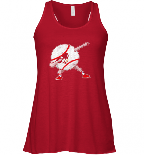 qsyf kids funny dabbing baseball player youth shirt cool gift boy flowy tank 32 front red