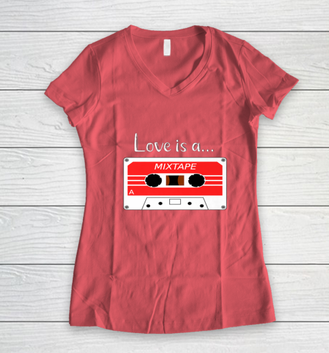 Love is a MixTape Retro Old School Valentine Women's V-Neck T-Shirt 4