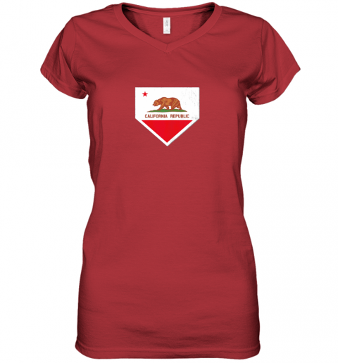 oyo0 vintage baseball home plate with california state flag women v neck t shirt 39 front red