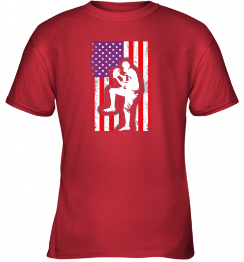 26y5 vintage usa american flag baseball player team gift youth t shirt 26 front red