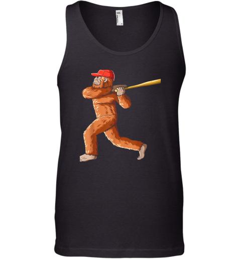 Bigfoot Baseball Sasquatch Playing Baseball Player Tank Top