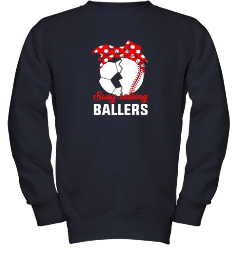 8dow busy raising a ballerfunny baseball soccer mom youth sweatshirt 47 front navy