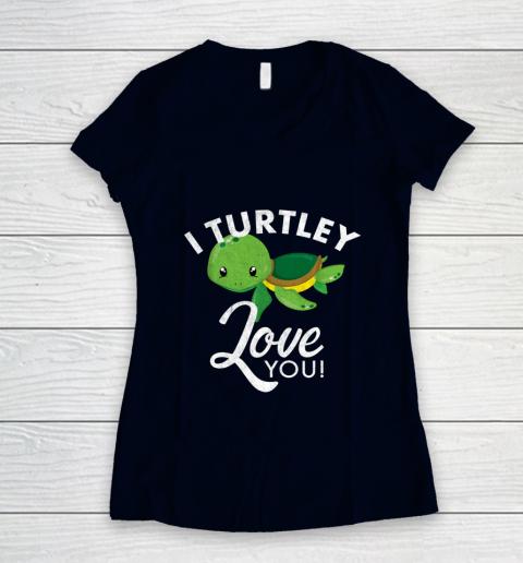 Cute Valentines Turtle I Turtley Love You Valentine Gift Women's V-Neck T-Shirt 2