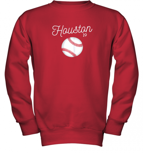ykv4 houston baseball shirt astro number 19 and giant ball youth sweatshirt 47 front red
