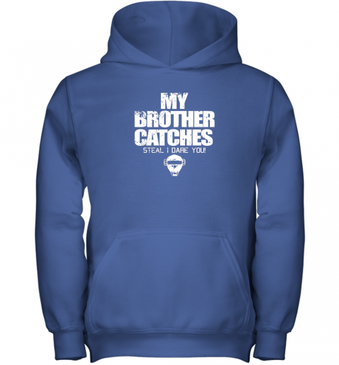 tjjj cool baseball catcher funny shirt cute gift brother sister youth hoodie 43 front royal