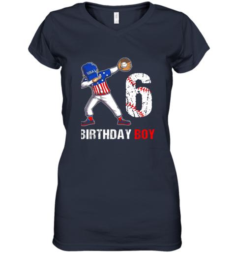 zp8o kids 6 years old 6th birthday baseball dabbing shirt gift party women v neck t shirt 39 front navy
