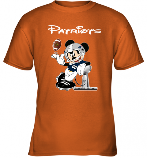 q7km mickey patriots taking the super bowl trophy football youth t shirt 26 front safety orange