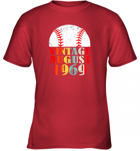 mybx born august 1969 baseball shirt 50th birthday gifts youth t shirt 26 front red