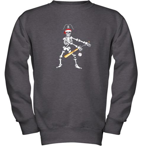 lolx skeleton pirate floss dance with baseball shirt halloween youth sweatshirt 47 front dark heather
