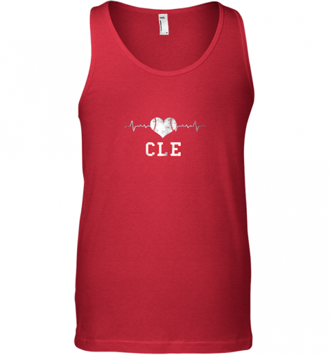qk4g cleveland baseball shirt cleveland ohio heart beat cle unisex tank 17 front red