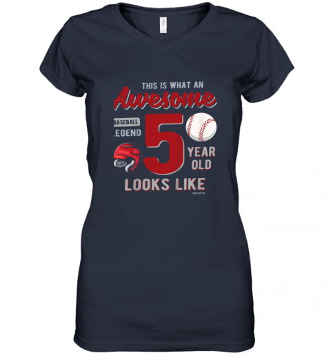 56jp kids 5th birthday gift awesome 5 year old baseball legend women v neck t shirt 39 front navy