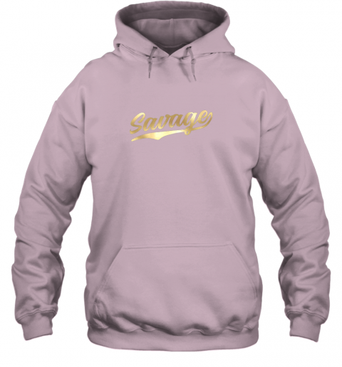 zkkx savage shirt retro 1970s baseball script font hoodie 23 front light pink