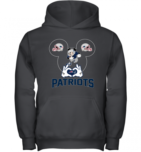 I Love The Patriots Mickey Mouse New England Patriots Youth Hoodie