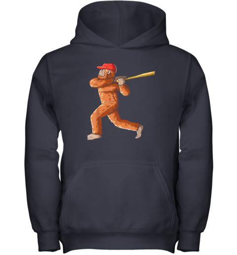 7yi6 bigfoot baseball sasquatch playing baseball player youth hoodie 43 front navy