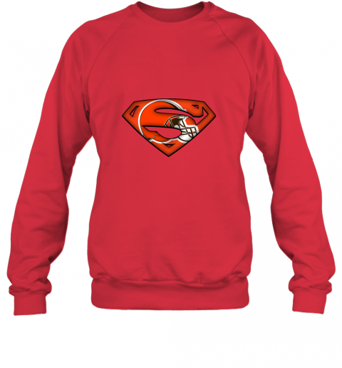 axik we are undefeatable the cleveland browns x superman nfl sweatshirt 35 front red