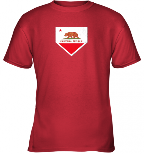 odug vintage baseball home plate with california state flag youth t shirt 26 front red