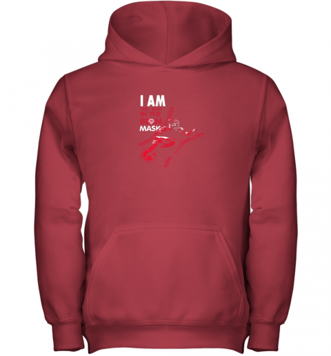 wuor i am the man in the iron mask baseball catcher youth hoodie 43 front red