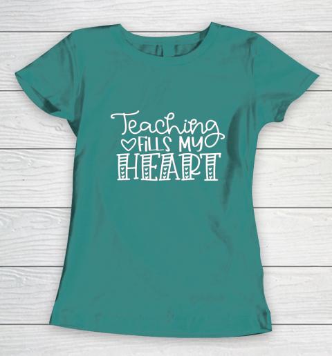 Teaching Fills My Heart Valentine Cute Love Teacher Student Women's T-Shirt 10