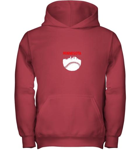 2rn7 retro minnesota baseball minneapolis cityscape vintage shirt youth hoodie 43 front red