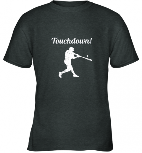 qjay touchdown funny baseball youth t shirt 26 front dark heather