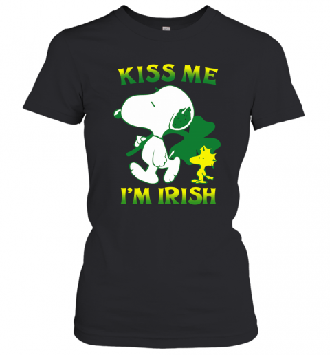 Snoopy And Woodstock Kiss Me I'M Irish Women's T-Shirt