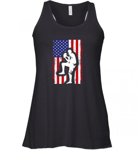 s1ml vintage usa american flag baseball player team gift flowy tank 32 front black