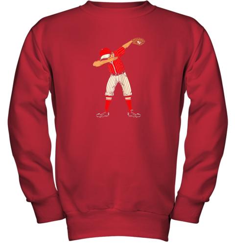 pray dabbing baseball catcher gift shirt kids men boys bzr youth sweatshirt 47 front red