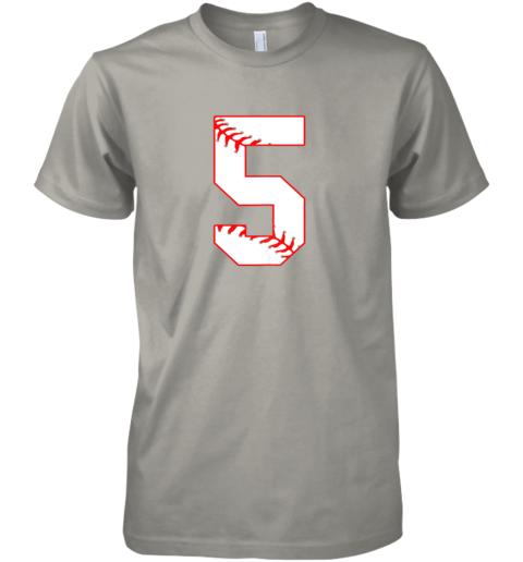 053k cute fifth birthday party 5th baseball shirt born 2014 premium guys tee 5 front light grey