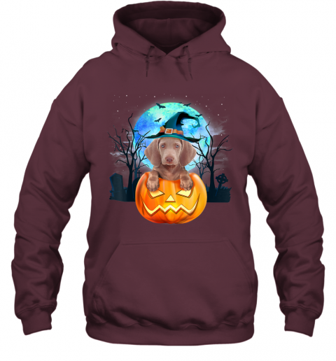 Weimaraner Dog Witch Hat Halloween Pumpkin Gift Hoodie