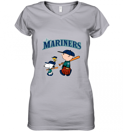 4ybx seatlle mariners lets play baseball together snoopy mlb shirt women v neck t shirt 39 front sport grey