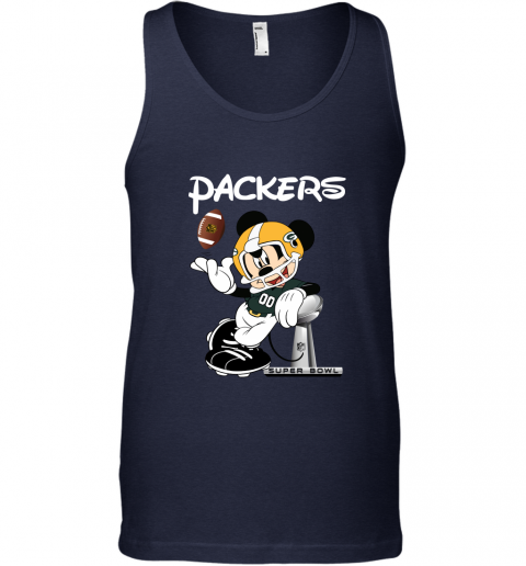 lkra mickey packers taking the super bowl trophy football unisex tank 17 front navy