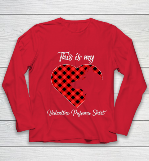 This Is My Valentine Pajama Shirt Wolf Valentines Day Youth Long Sleeve 8