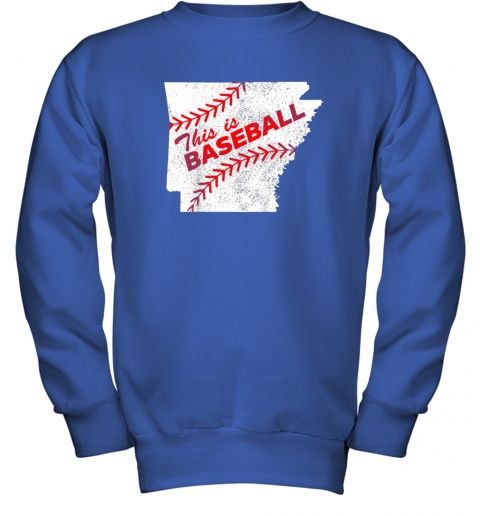 muv4 this is baseball arkansas with red laces youth sweatshirt 47 front royal