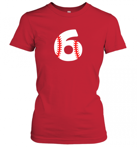 p84w sixth birthday 6th baseball shirtnumber 6 born in 2013 ladies t shirt 20 front red