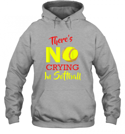 4kaz there39 s no crying in softball baseball coach player lover hoodie 23 front sport grey