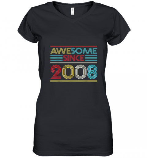 12th Birthday Gifts Awesome Since 2008 TShirt Women's V-Neck T-Shirt