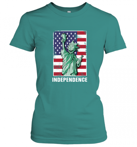 nzlr rick and morty statue of liberty independence day 4th of july shirts ladies t shirt 20 front tropical blue