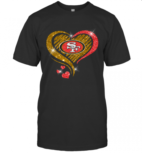 San Francisco 49Ers Glitter Heart Shape T Shirt - Custom Graphic Tee - Christmas Gift Idea