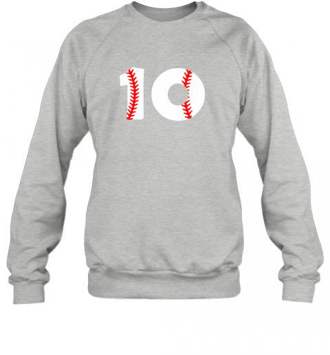 op0n tenth birthday 10th baseball shirtnumber 10 born in 2009 sweatshirt 35 front sport grey