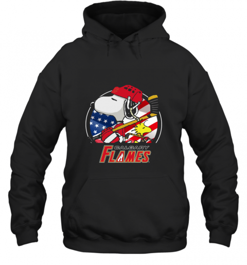 Calgary Flames   Snoopy And Woodstock NHL Hoodie