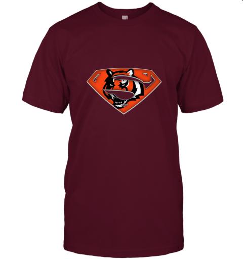 x3lk we are undefeatable the cincinnati bengals x superman nfl jersey t shirt 60 front maroon