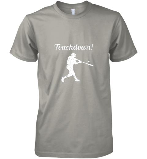 unzl touchdown funny baseball premium guys tee 5 front light grey