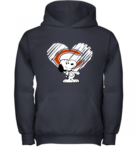 z3pn i love chicago bears snoopy in my heart nfl youth hoodie 43 front navy