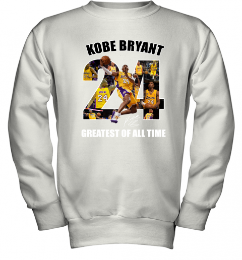 Kobe Bryant Greatest Of All Time Number 24 Signature Youth Sweatshirt