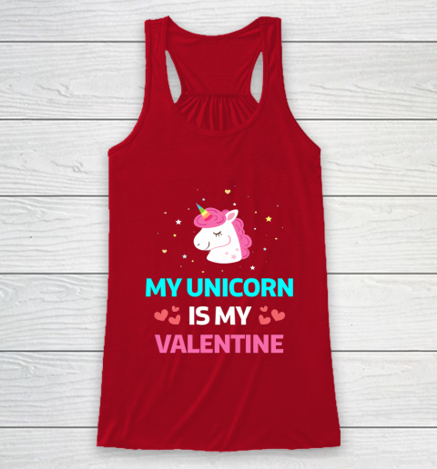 Funny Valentines Day Shirt Unicorn Is My Valentine Racerback Tank 4